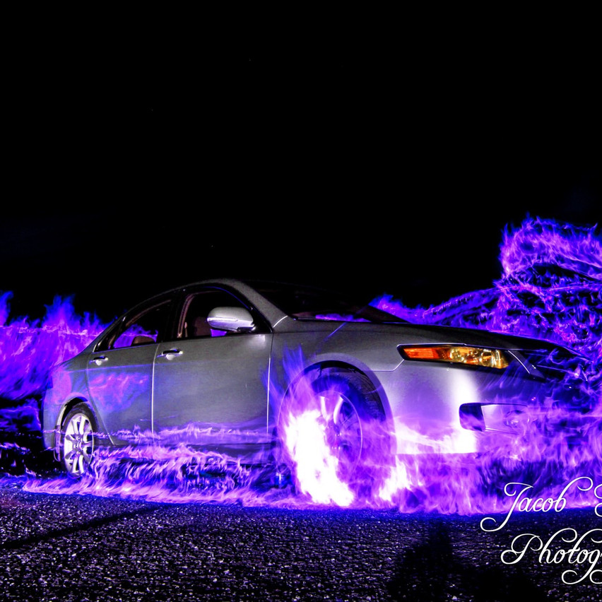 Purple Fire Car Photography