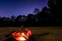 Fire long exposure night sky