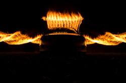 Car fire flames long exposure spiral