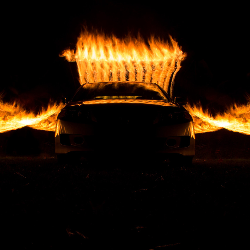Car fire spiral photography