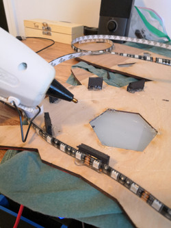 Hot glue to attach LED strips