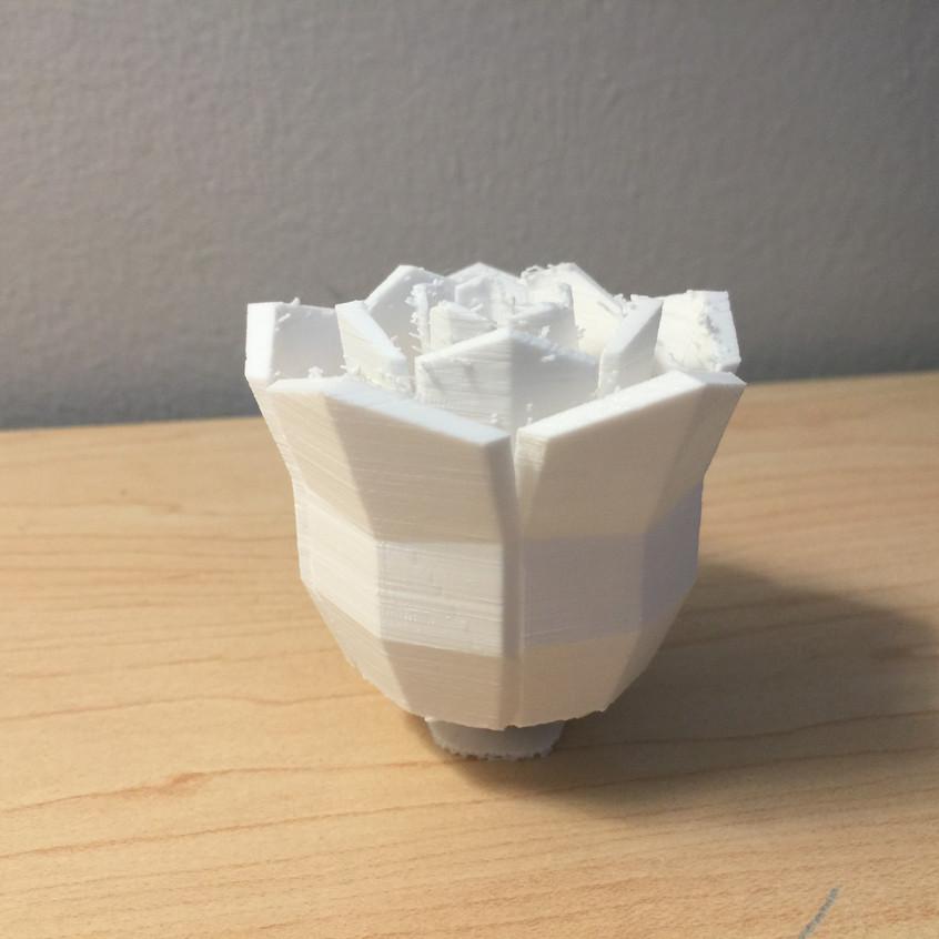 3D-printed white rose