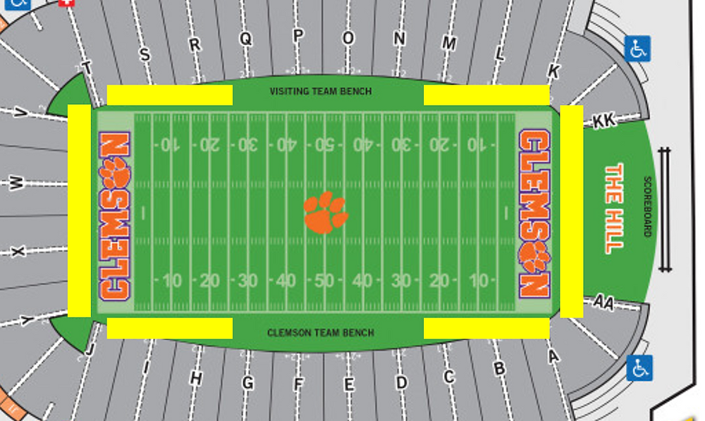Clemson Football stadium map photographers area