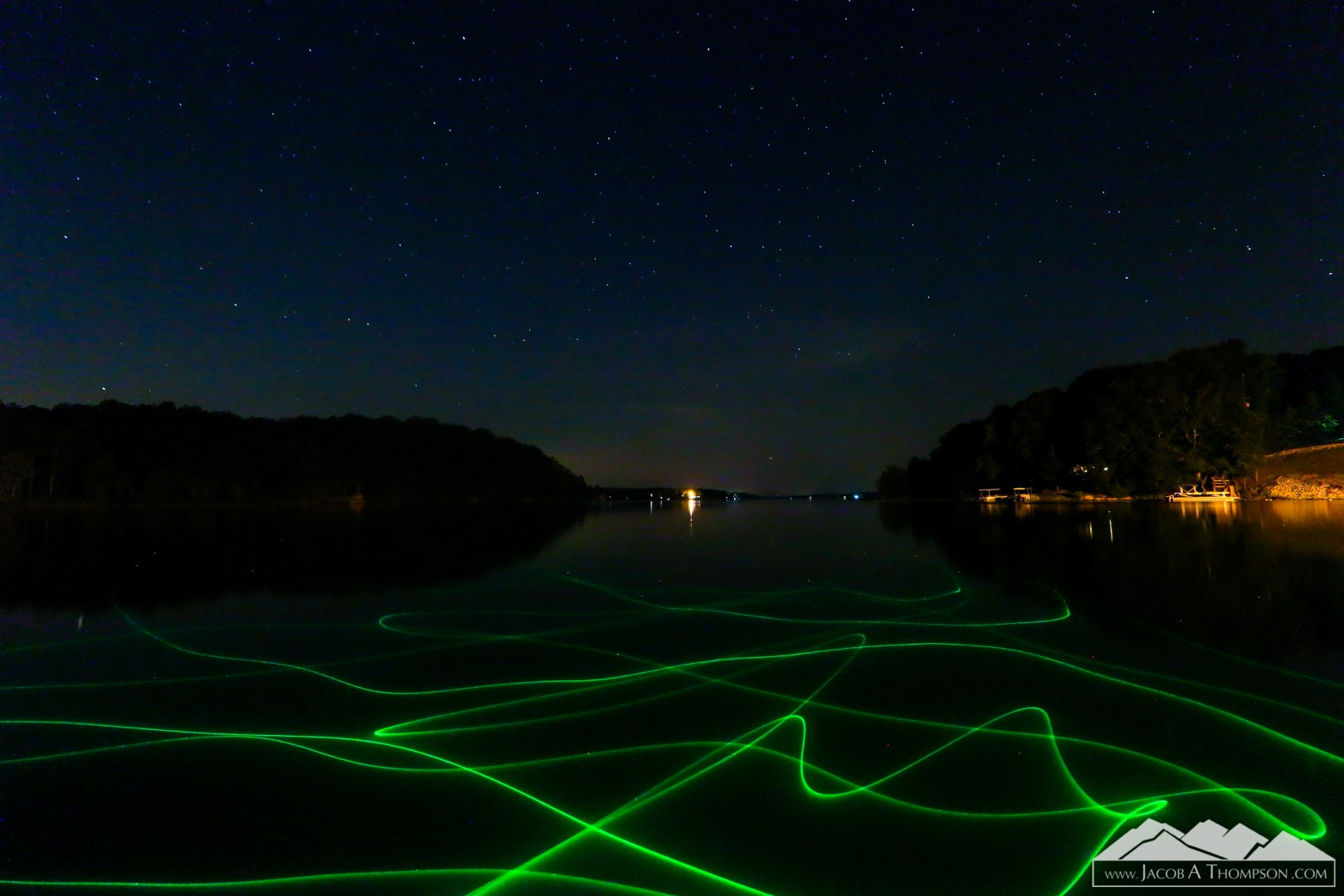 lake laser stars long exposure