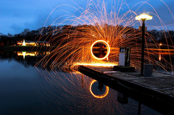 Steel wool on boat dock