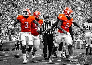 Clemson football players selective color