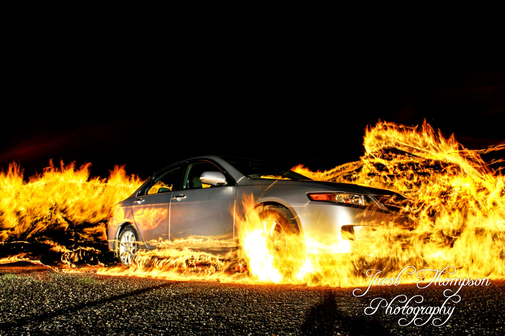 Car fire flames long exposure