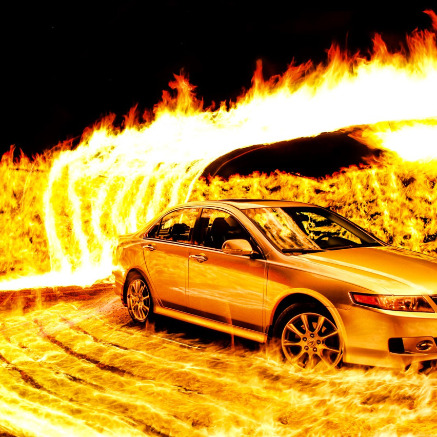 Silver Car Fire Photography