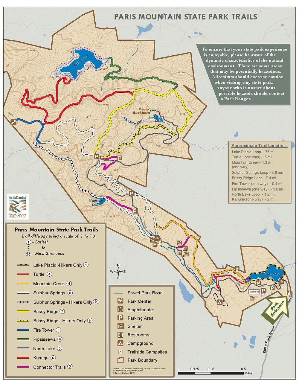 Paris Mountain Trail Map