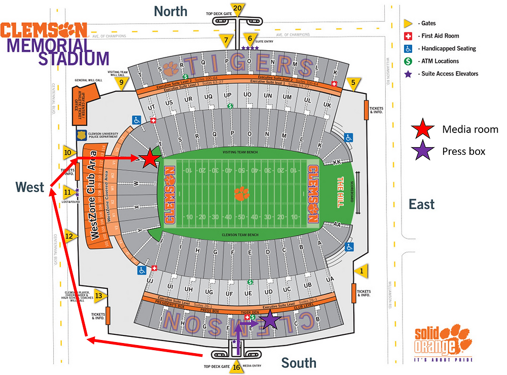 Clemson stadium photographer areas