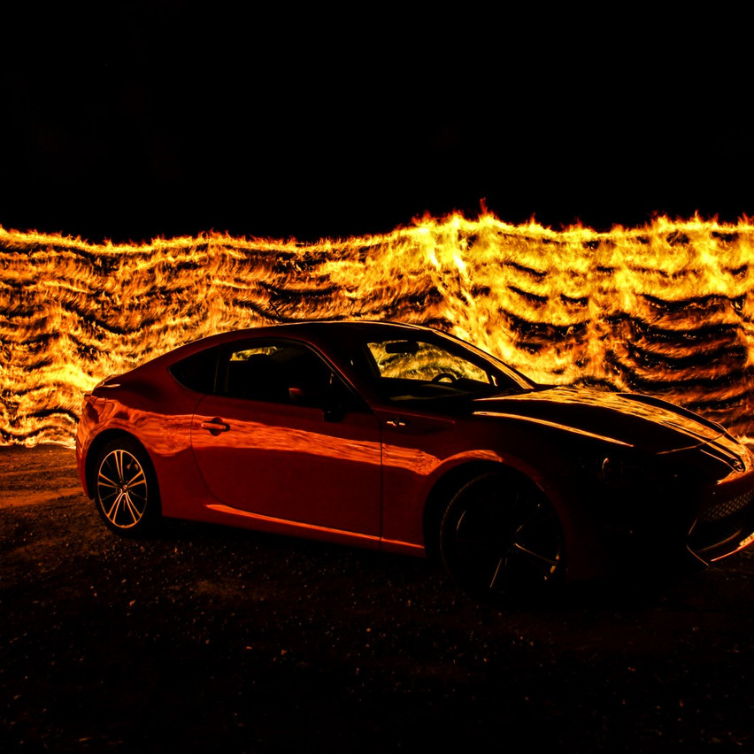 Red Car Fire Light Painting