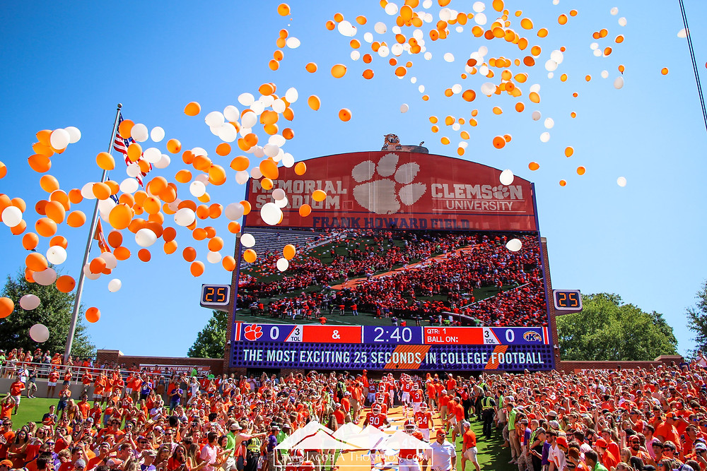Clemson football pregame tradition hill balloons
