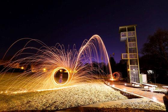 Burning steel wool long exposure