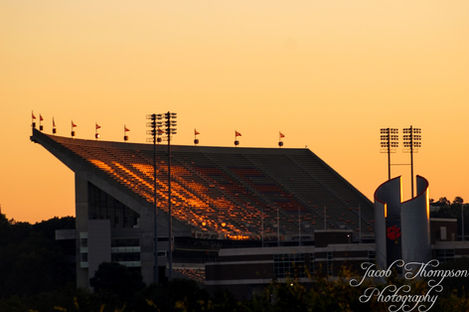 Clemson Football Memorial Stadium Death Valley sunset