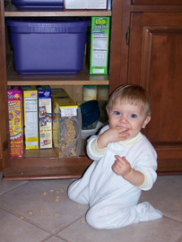 Alex Thompson caught eating snacks from the cabinet