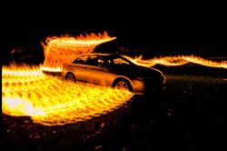 Car fire light painting compilation