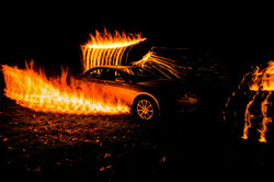 Car fire flames long exposure