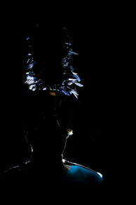 Marching band hat backlit silhouette