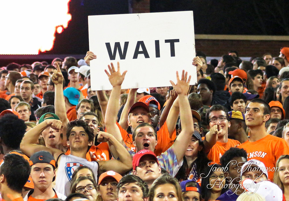 Clemson football fans before rushing field
