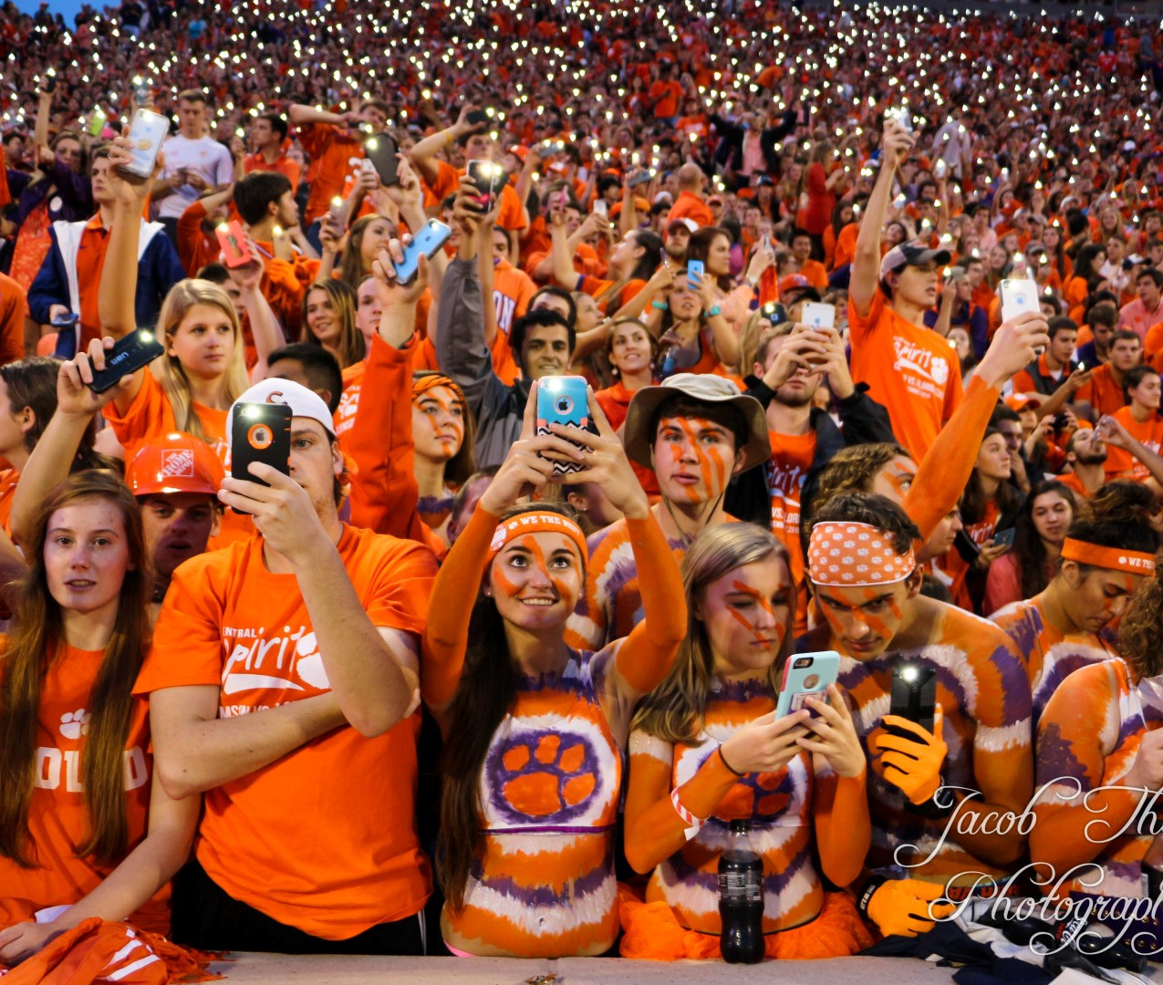 Clemson football night lights fans