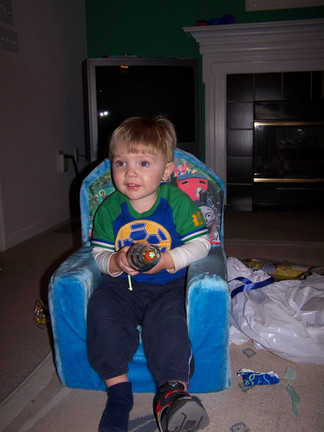 The Thomas the tank engine chair with Alex Thompson