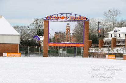 Clemson tillman riggs soccer field snow