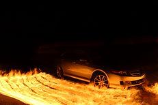 Long exposure fire light painting car
