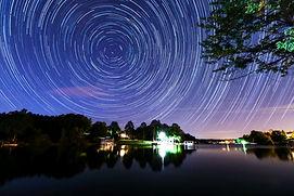 Star trail night sky photo stack