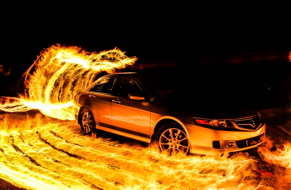 Car Fire Photography light painting long exposure