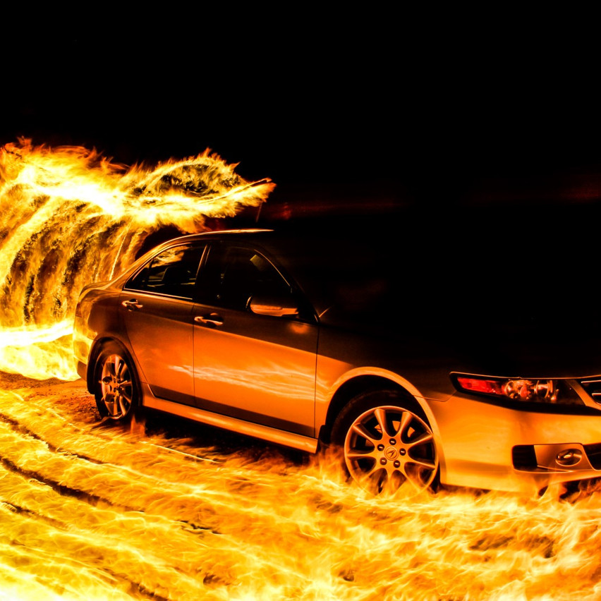 fire car photography light painting