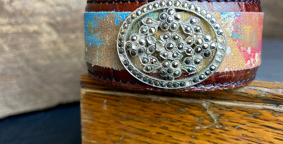 Painted Cuff with Rhinestone Vintage Broach