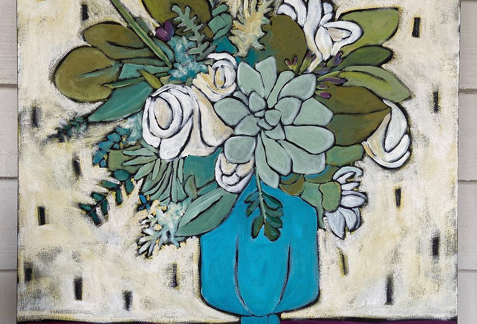 Still Life in Blue Vase