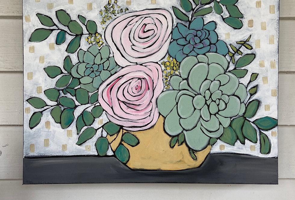 Still Life Painting in Yellow Vase