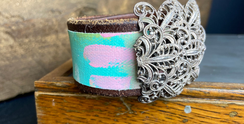 Painted Cuff with Silver Pin
