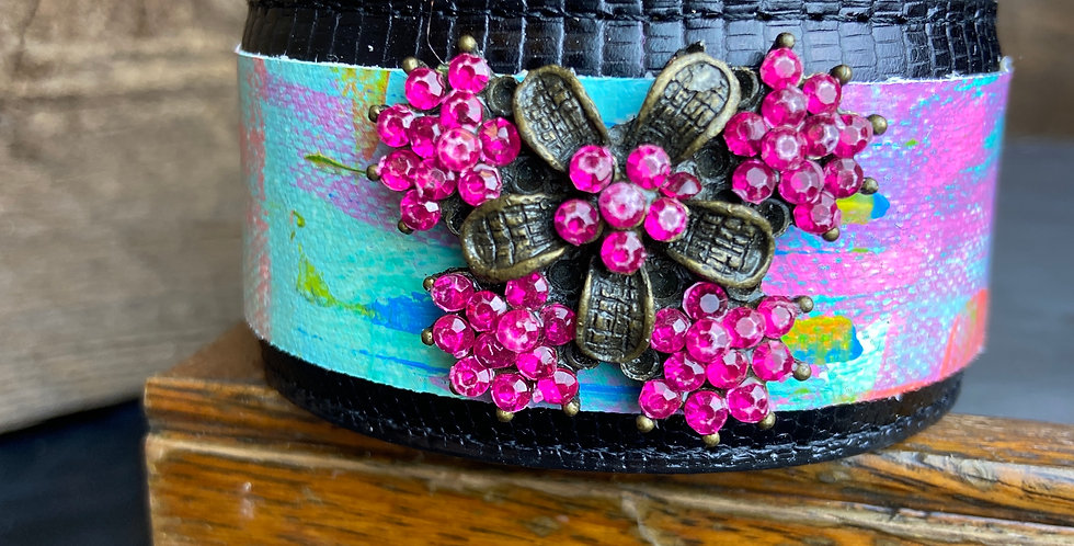 Painted Cuff with Pink Rhinestone Vintage Broach