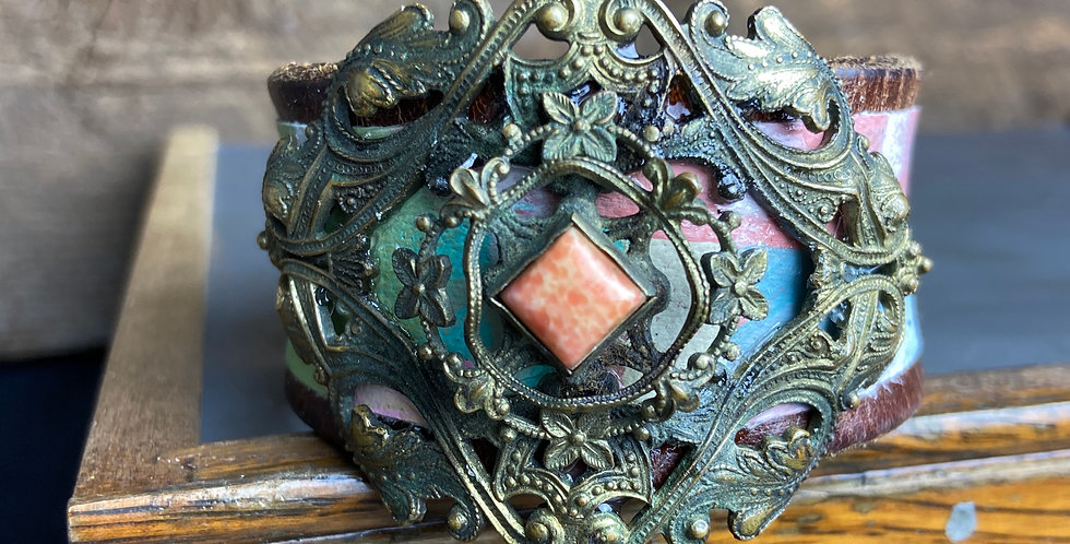 Painted Cuff with Vintage Broach