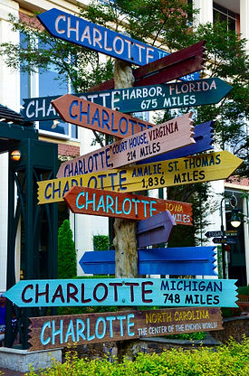 Direction Sign Art in The Green, Uptown Charlotte, NC