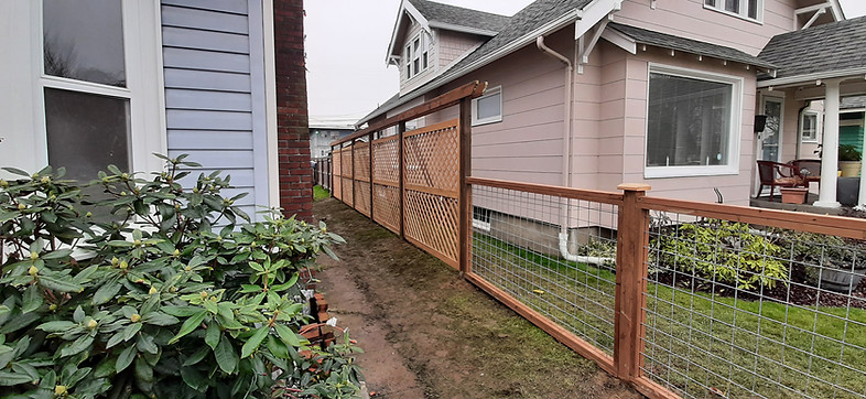 Custom 7' Double Lattice panel Fence & Hogwire Fence Combo