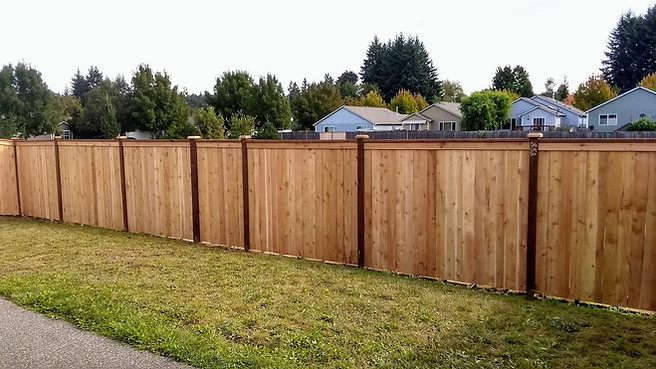 Estate Style Cedar Fence with pressure treated rails and a hidden gate