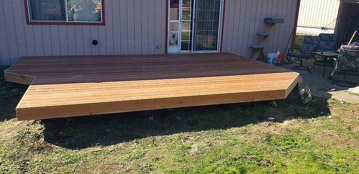 Restoration of low floating deck with sunwood deck boards