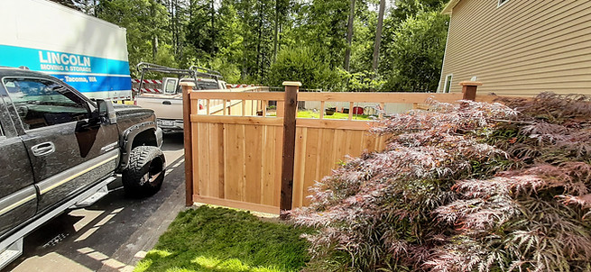 HOA Specific Picket Top Cedar Fence with hidden gate