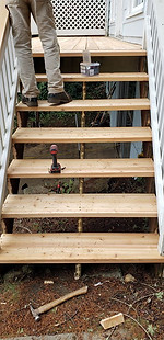 Full deck surface replacement with cedar deck boards