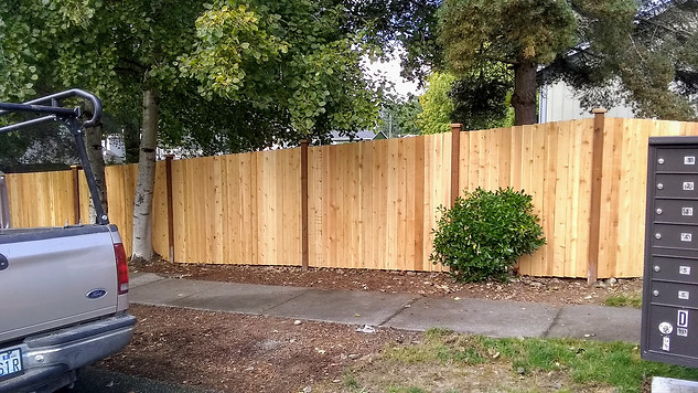Inset Straightboard Style Cedar Fence with pressure treated rails and a hidden double gate