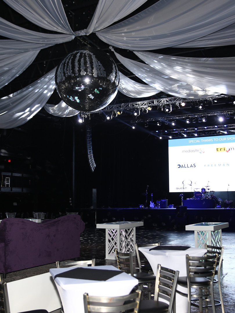 Casual and fun decor provided for corporate evening event