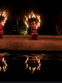 Tahitian fire dancers performing for company award dinner