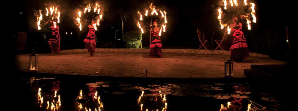 Fire dancer entertainment for corporate incentive trip in Mo'orea
