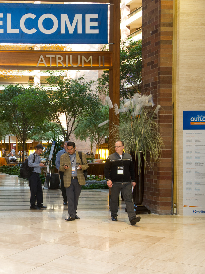 Welcome banner at entrace to corporate conference