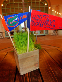 College football themed centerpieces at