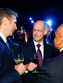 Networking at corporate awards ceremony