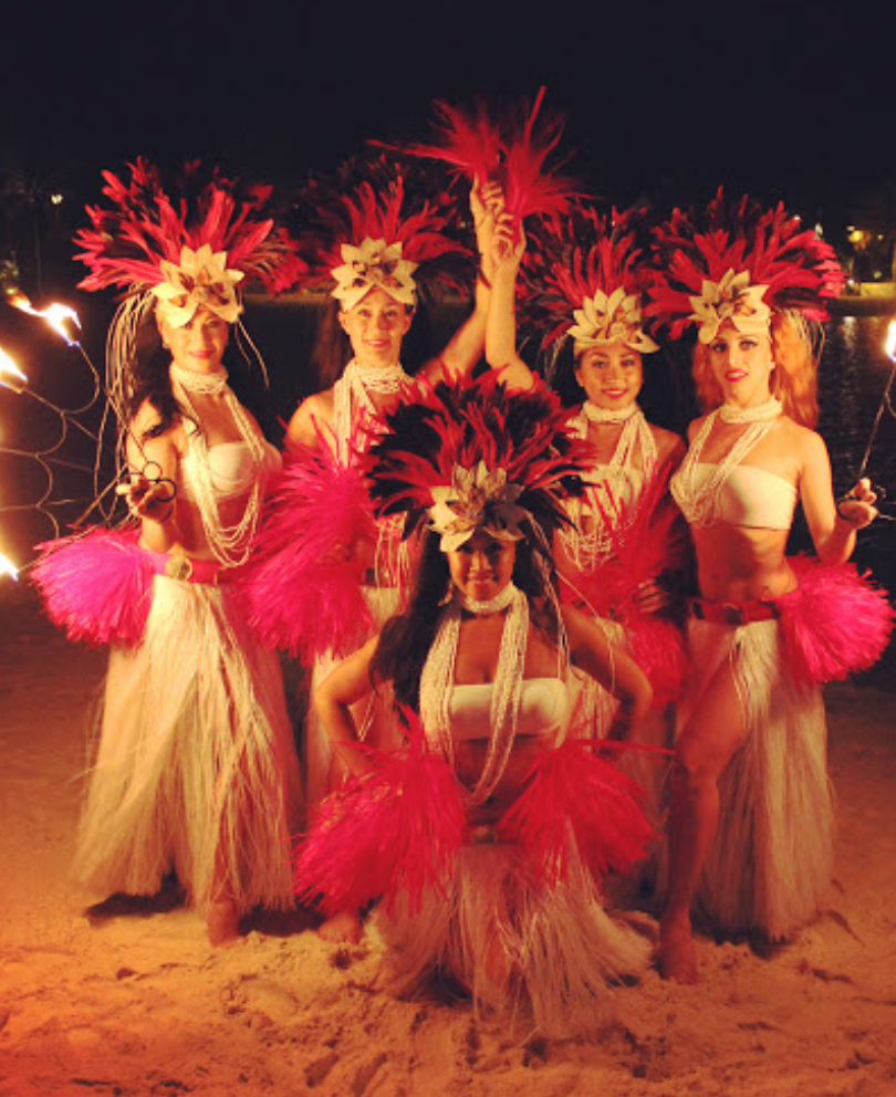 Tahitian women fire dancers at awards dinner